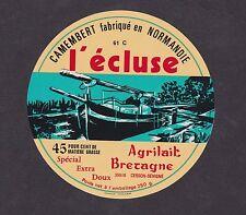 Ancienne étiquette fromage France BN15199 Camembert L'écluse bateau