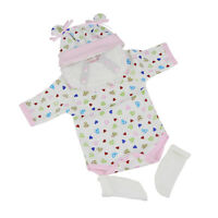 Hearts-Print Romper Hat Suit Clothes for 16-17inch Reborn Baby Girl Doll