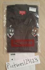 Supreme Tom & Jerry S/S Work Shirt Brown Size Medium Box Logo Classic M
