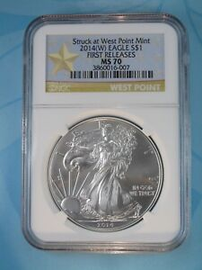 2014 (W) NGC MS70 SILVER EAGLE STRUCK AT WEST POINT FIRST RELEASES STAR LABEL