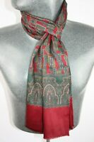 Vintage Wool Silk Scarf Red mod dandy retro mens womens cravat *456