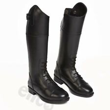 Childrens Charlotte Long Black Leather Riding Boots Laced Front Sizes UK 13 - 5