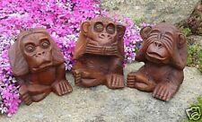 NEU 3 Affen Äffchen FENG SHUI Deko Holz Monkey F10