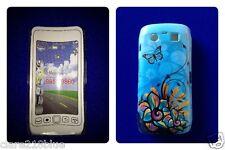 Blackberry Torch 9860 9850 móvil phonecover Piel Duro Mariposa Azul Stocking