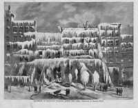 BARNUM'S AMERICAN MUSEUM AFTER THE GREAT FIRE OF 1868, RUINS, FIREMEN LADDER