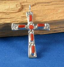 NATIVE AMERICAN ZUNI INDIAN JEWELRY CORAL CROSS BY CECILIA IULE