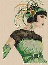 Art Deco Lady in Green Dress Counted Cross Stitch Chart No.1-30b