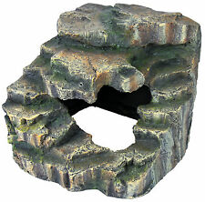 Tortuga pasos acuario peces tanque Cueva Terrapin Tortuga Temperatura Rock 19cm