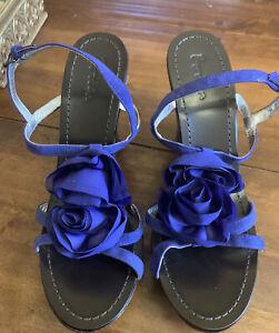BODEN Royal Blue Rose Trim Wedge Sandals Size 39 (6) NEW