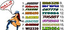 "Custom Snowmobile Registration 2"" Numbers Pair Decals Sticker Vinyl 2 Color sled"