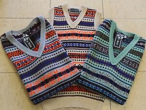 Mens Vintage style 1930's 40's WW2 Wartime Fair isle knit Tank Top Slip over