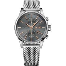 Hugo Boss da Uomo Nero Lucente Orologio Cronografo HB1513440 Quadrante Grigio