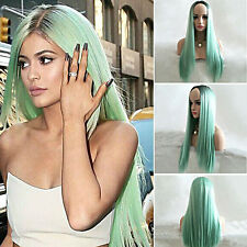 Women Ladies Long Straight Full Wig Mint Green Hair Cosplay Costume Party