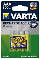 4 x Varta R03 AAA Ni-MH Wiederaufladba Batterie 800 mAh (Blister)
