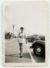 Shapely Swimsuit Babe Prances Down Street By Old Cars Vtg 1940s Photo Girl Women