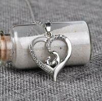 Silver Mother Hug Daughter Heart Crystal Necklace, gift for mum, mothers gift