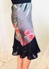 Navy Pink Red Bias-Cut Satin Floral Midi Skirt Size 12-14 New!~EugeniaM Designs~