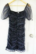 H&M Draped Tulle Dress, Black, Small Flowers, Frill Trim, UK 16, New With Tag