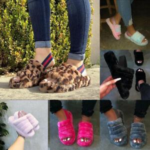 Womens Fluffy Peep Toe Sandals Platform Comfy Slingback Shoes Home Slippers UK