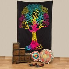 Wall Hanging Bedspread Tree Life Deco Cloth India Approx. 200 X 135 CM UV Active
