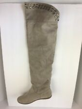 R2 Womens Boots Kerry Over Knee Beige 7 Vegan Faux Suede Leather Studded Flat