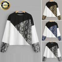 Women Girl Casual Long Sleeve Snake Print T-shirt Top Blouse Pullover Sweatshirt