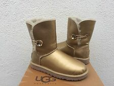 UGG SOFT GOLD BAILEY BUTTON MIRAGE BLING SHEEPSKIN BOOTS, US 7/ EUR 38 ~ NEW