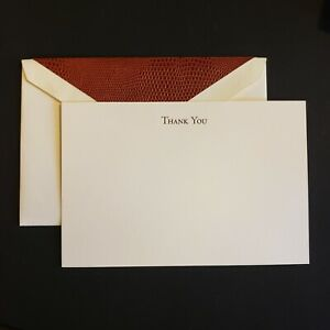 Crane & Co engraved thank you flat card with embossed alligator pattern liner