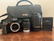 Nikon D3500 24.2MP DSLR Camera 18-55mm 55-200mm VR Lens Kit - 3938 Shutter Count