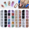 12 Grid Glitter Nail Sequin Mixed Mirror Sugar Peacock Round Flake Decoration
