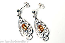 Sterling Silver Citrine ornate drop Earrings Gift Boxed