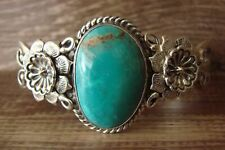 Navajo Indian Jewelry Sterling Silver Turquoise Cuff Bracelet - J. Mariano