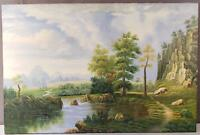 BEAUTIFUL LANDSCAPE OIL ON CANVAS PAINTING SIGNED J. BING RIVER MOUNTAINS