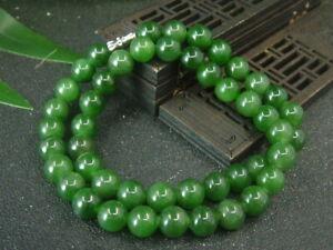Antique Chinese Nephrite Celadon Hetian green Jade 10mm Beads Necklace Pendants