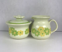 "Franciscan Earthenware ""PICNIC"" Sugar Bowl & Creamer Yellow Green Flowers Daisy"