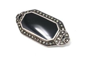 A Pretty Vintage Sterling Silver 925 Onyx & Marcasite Cluster Brooch #1520