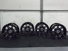 "YAMAHA WOLVERINE R-SPEC 12"" STI HD3 BLACK ALUMINUM ATV WHEELS  (SET 4) IRSL8"