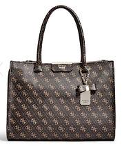 NWT GUESS Belfort Status Carryall Satchel Tote Handbag Logo print Brown