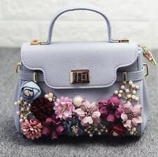 Women Floral Pearl Rhinestones Handbag Satchel Messenger Crossbody Shoulder Bags