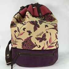 Lucky Brand Purple Beige Suede Leather Canvas Backpack Butterfly Large