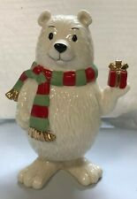 "Lenox, Holiday Bobbles Polar Bear 6.25"" tall Gold details Christmas Decoration"