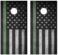 Thin Green Line Flag Cornhole Board Skin Wrap Decal -LAMINATED