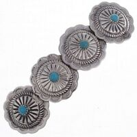 Turquoise Sterling Silver Native American Concho Hair Clip Barrette