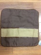 """CASA MOBILE PILLOW COVER """"NEW"""" 20"""" SQUARE BROWN BURLAP LEATHER TRIM BRAID PIPING"""