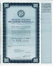 SIP 2 AZIONI CERTIFICATO AZIONARIO 1967 SOCIETÀ TELEFONICO - STOCK CERTIFICATE