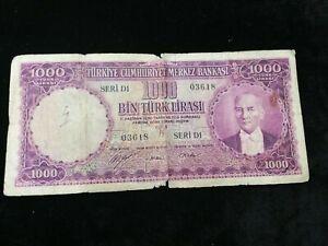 TURKEY 1000 LIRASI BANKNOTE 1930