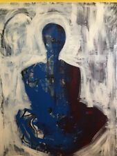 LARGE PAINTING ON CANVAS Seated Figure By Chris Butler 2018 Abstract Meditation