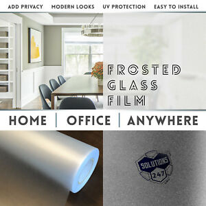 Frosted Glass Film Office Bedroom Bathroom Home Window Tint Static Cling Big Cut