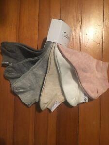 CALVIN KLEIN Women's 6 pk Low Cut Socks cotton  Size 6-9.5 Gray & White & Pink