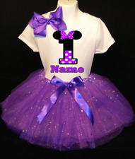 MINNIE MOUSE **With NAME** 1st First 1 Birthday Purple Tutu Dress Fast Shipping